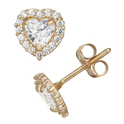 Charming Girl 14k Gold Crystal Heart Halo Stud Earrings