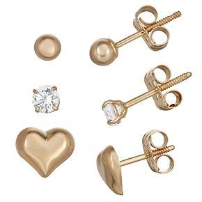 Charming Girl 14k Gold Heart Stud Earring Set