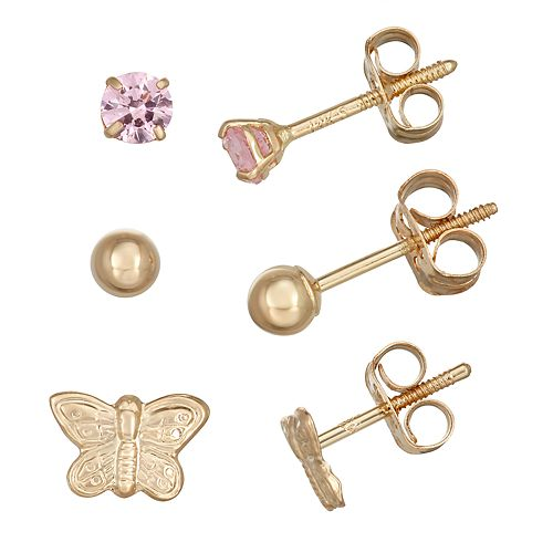 Charming Girl 14k Crystal Butterfly Stud Earring Set