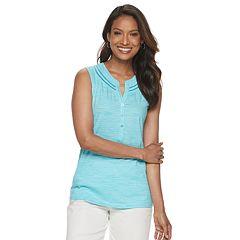 461432771268 Women's Croft & Barrow® Sleeveless Crochet Trim Top. Berry White ...
