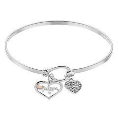 Brilliance Two Tone 'Mom' Charm Bangle Bracelet with Swarovski Crystals