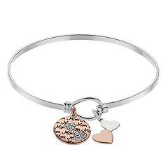 Brilliance Two Tone Mom Charm Bracelet with Swarovski Crystals