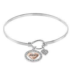 Brilliance Two Tone 'Mom' Charm Bracelet with Swarovski Crystals