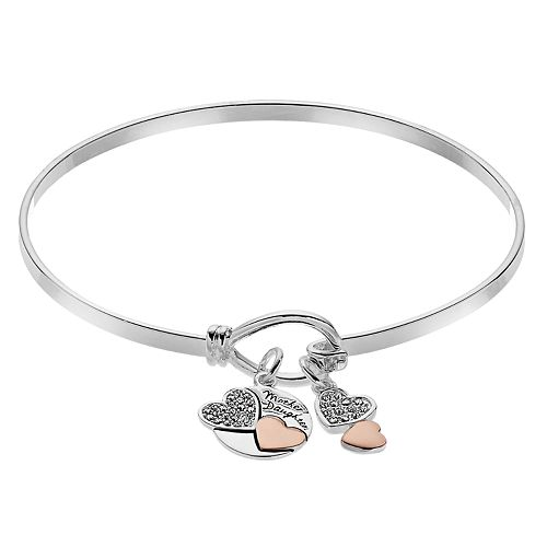 Brilliance Two Tone Mother Daughter Bangle Bracelet with Swarovski Crystals