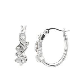 Brilliance Geometric Cluster Hoop Earrings with Swarovski Crystals