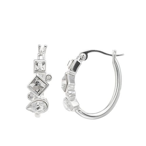 Brilliance Geometric Cluster Hoop Earrings with Swarovski Crystals