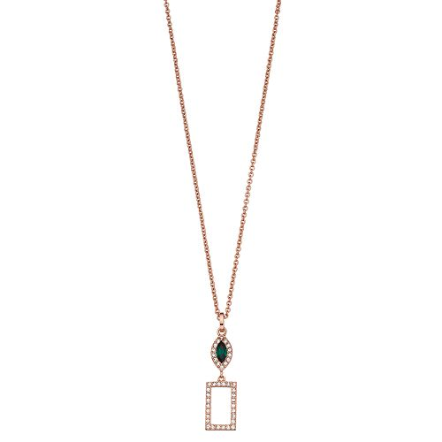 Brilliance Square Drop Pendant Necklace with Swarovski Crystals