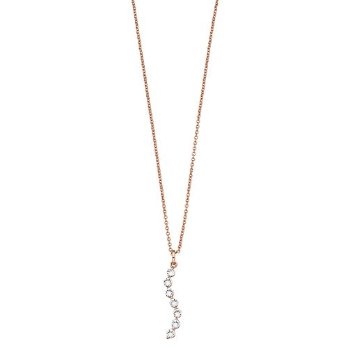 Brilliance Wavy Bar Pendant Necklace with Swarovski Crystals