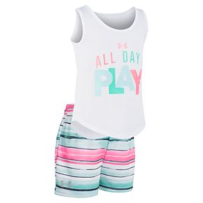 """Girls 4-6x Under Armour """"All Day I Play"""" Tank Top & Striped Shorts Set"""
