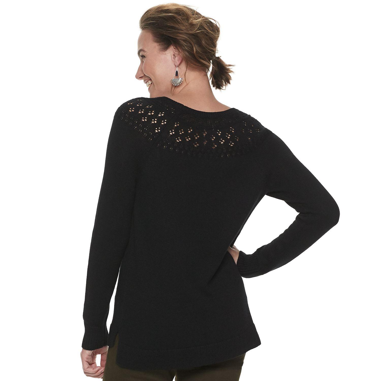 Women's Sonoma Goods For Life® Pointelle Yoke Sweater