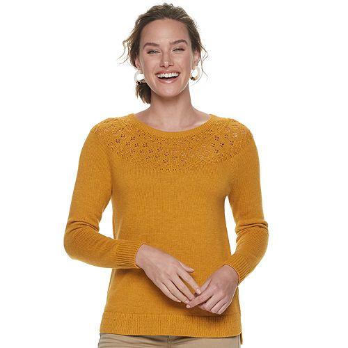 Women's SONOMA Goods for Life™ Pointelle Yoke Sweater