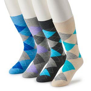 Men's Croft & Barrow® 4-pack Opticool Argyle Pastel & Patterned Socks
