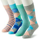 Men's Croft & Barrow® 4-pack Opticool Argyle Pastel & Patterned Socks