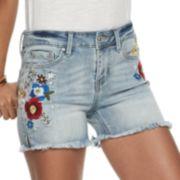 Juniors' Indigo Rein Embroidered Denim Shorts
