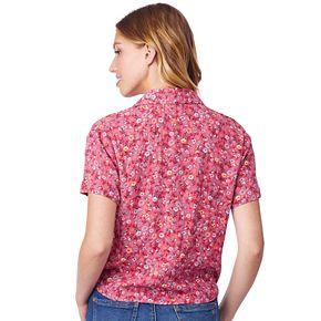 Juniors' WallFlower Woven Button Front Top
