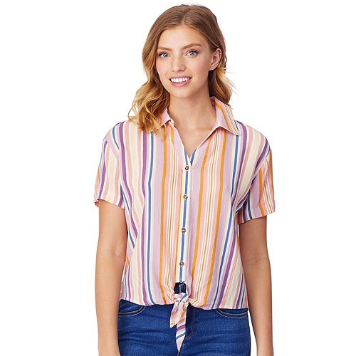 Juniors' WallFlower Woven Button Front Top