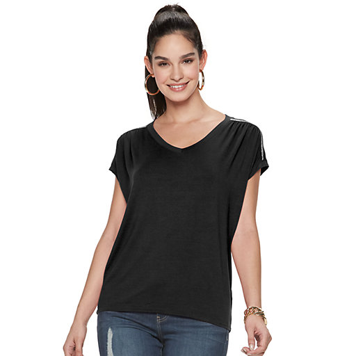 47381798 Women's Jennifer Lopez Ruched Dolman Top