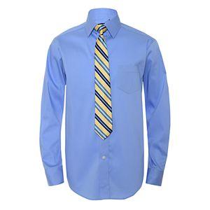Boys 4-20 Chaps Solid Shirt & Tie Set