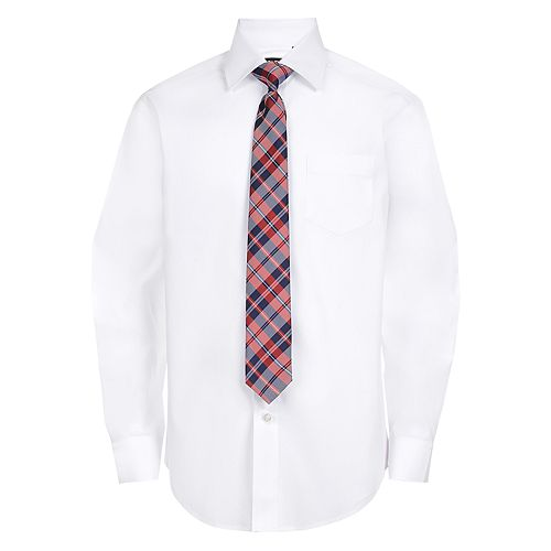 Boys 4-20 Chaps Solid Shirt & Tie Set