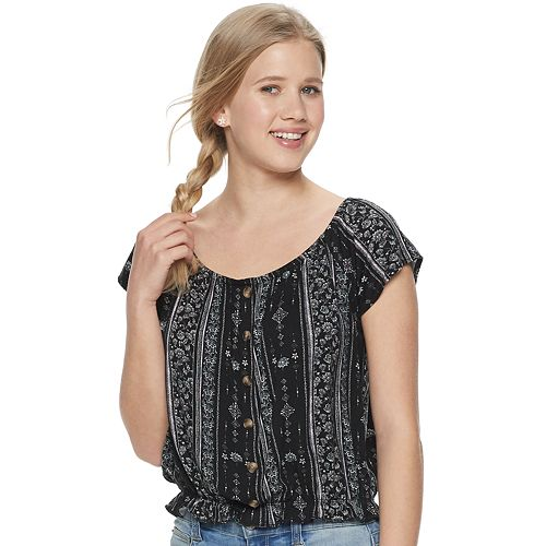 Juniors' Mudd® Button Front Peasant Top