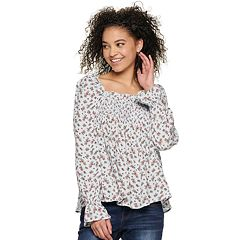 Juniors' Hint of Mint Smocked Square Neck Top
