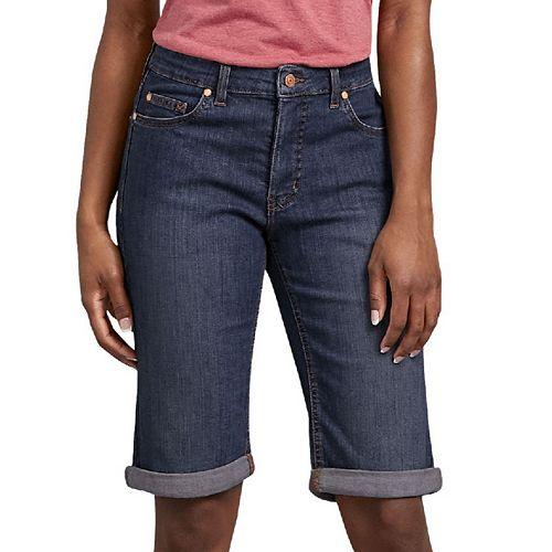 Womens Dickies Perfect Shape Cuffed Bermuda Jean Shorts