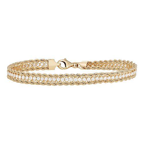 14k Gold Cubic Zirconia Rope Bracelet