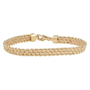 14k Gold Triple Row Rope Bracelet