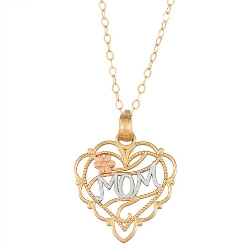 Tri-Tone 14k Gold Mom Heart Pendant