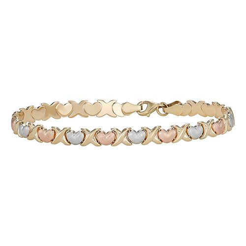 Tri-Tone 10k Gold Heart Bracelet