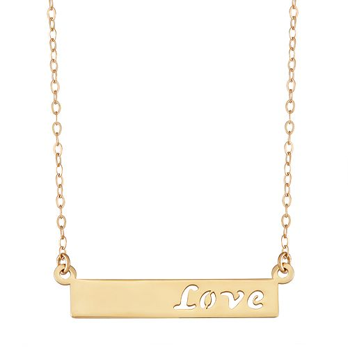 "10k Gold ""Love"" Bar Necklace"