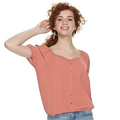 Juniors' Pink Republic Puff-Sleeve Blouse