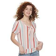 Juniors' Pink Republic Print Smocked Hem Peasant Top