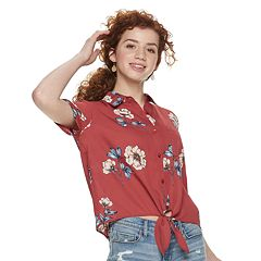 Juniors' Pink Republic Floral Knot-Front Shirt