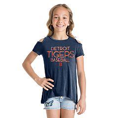 Girls 7-16 Detroit Tigers Cold-Shoulder Foil Tee