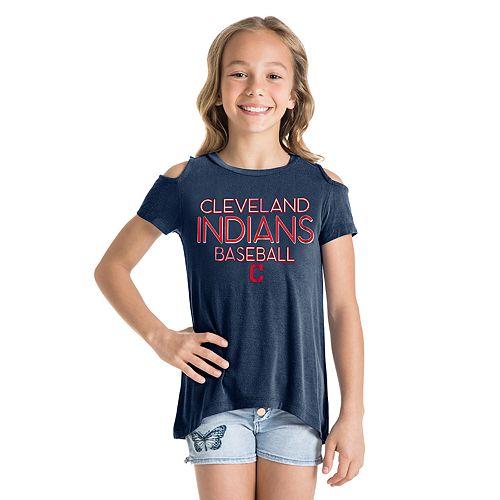 Girls 7-16 Cleveland Indians Cold-Shoulder Foil Tee