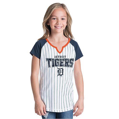 Girls 7-16 Detroit Tigers Notch-Neck Raglan Jersey Tee