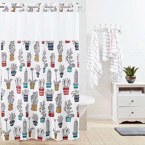 Hookless Cactus Shower Curtain & Liner