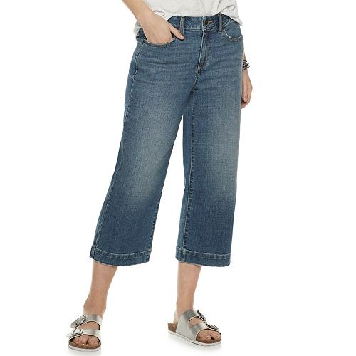 Women's SONOMA Goods for Life™ High-Waisted Wide-Leg Crop Jeans