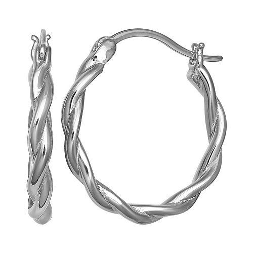 PRIMROSE Sterling Silver Polished Twisted Hoop Earrings