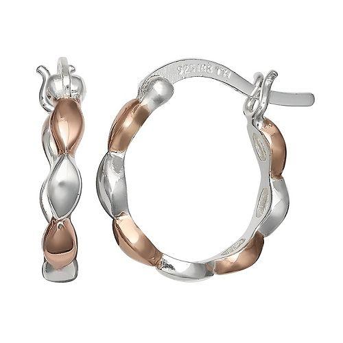 PRIMROSE Two Tone Sterling Silver Scalloped Hoop Earrings