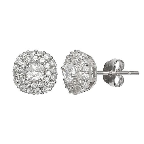 PRIMROSE Sterling Silver Cubic Zirconia Pave Cushion Earrings