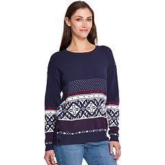 Women's IZOD Print Crewneck Sweater