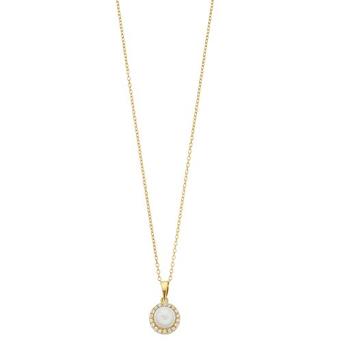 RADIANT GEM 18k Gold Over Silver Cultured Freshwater Pearl & Lab-Created White Sapphire Pendant