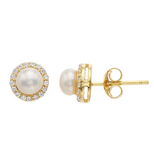 RADIANT GEM 18k Gold Over Silver Freshwater Cultured Pearl Halo Stud Earrings