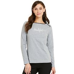 Women's IZOD Embroidered Boatneck Top