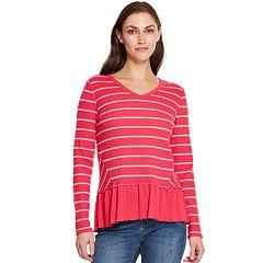 Women's IZOD Striped Peplum Top