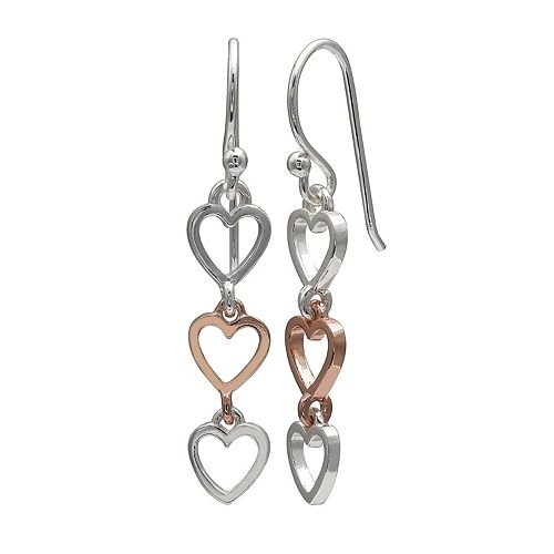 PRIMROSE Two Tone Sterling Silver Triple Heart Drop Earrings