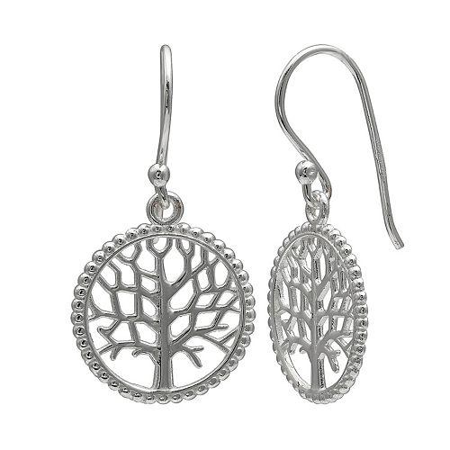 PRIMROSE Sterling Silver Beaded Family Tree Drop Earrings