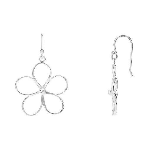 PRIMROSE Sterling Silver Wire Flower Drop Earrings
